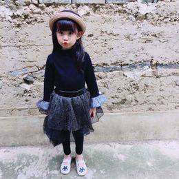 Wholesale Korean Top Long Skirt - 2017 New Children Clothes Korean Girls Dress Suits black trumpet sleeve T shirt Tops+ pant skirt 2pcs sets Kids Outfits Kids Clothing A994