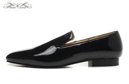 Wholesale Comfortable Dress Shoes Women - MBL996A Size 36-46 Men Women Black Patent Leather Square Toe Red Bottom Loafers,Gentleman Luxury Brand Comfortable Wedding Party Dress Shoes