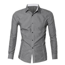Wholesale Korean New Design Shirt - Wholesale- KLV 2016 New Fashion Brand Camisa Masculina Long Sleeve Shirt Men Korean Slim Design Formal Casual Male Dress Shirt Size