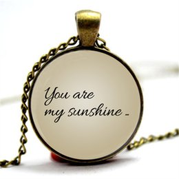 Wholesale Only Chain Necklace - 10pcs You Are My Sunshine- My only sunshine . Paired necklace. Set of two pendants jewelry. Glass Cabochon Necklace