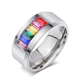 Wholesale Rainbow Crystal Gemstone - Colorful Rainbow Crystal Ring Titanium Stainless Steel Finger Rings Gemstone Couple Ring Man Women Wedding Party Gift Jewelry
