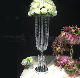 Wholesale Crystal Lead Road - 2017 latest Luxury Shiny Wedding Decor Centerpieces Crystal Beads String Road Lead Party Table Decoration Props LLFA