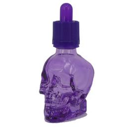 Wholesale Glass Perfume Bottles For Sale - Hot 30ml Purple e liquid glass dropper Perfume bottle with Security pressure cap E Skull Liquid Bottle by DHL for sale
