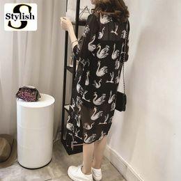 Wholesale Elegant Summer Cardigans - blouse top Chiffon Blouse Long Shirt 2017 New Summer Half Sleeve Vintage Elegant Floral Print Kimono Cardigan Women Tops Ladies Clothes