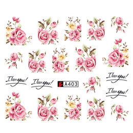 designer nails tips Coupons - Wholesale DIY Designer Water Transfer Tips Nail Art Pink Rose Flower Sticker Decals Women Beauty Wedding
