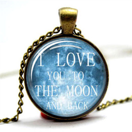 Wholesale photos moon - 10pcs lot I love you to the moon and back Necklace Glass Photo Cabochon Necklace
