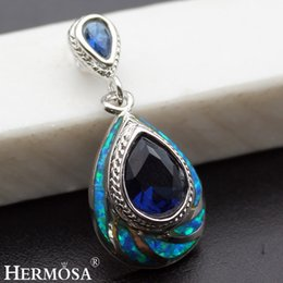"""Wholesale Sterling Silver Best Charms - Natural Blue Opal Pendants Jewelry Ocean Sapphire 925 Sterling Silver Fashion Jewelry Charm Teardrop Best Quality 1 1 4"""" INCH"""