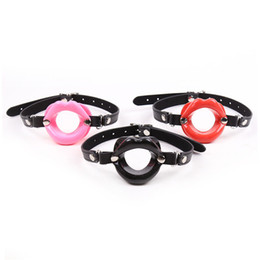 Wholesale Sex Lips - Newest Fetish Oral Sex Products PU Leather Rubber Open Mouth Gag For Man Woman BDSM Bondage Lips O Ring Gag Sex Toys For Couples