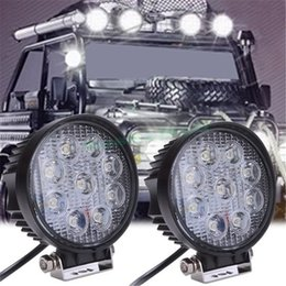 Wholesale Working Led 24v - 27W LED Work Flood Round Light 12V 24V Bar Boat Tractor Truck Off-road SUV Camping Security
