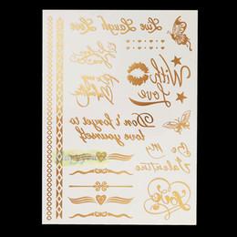 diseños de tatuajes metalicos Rebajas Wholesale-1pc Gold Sliver Flash Metallic Inspire Waterproof Tattoo JM-09 Carta de mariposa Corazón Diseño de anillo Tatuaje temporal de papel adhesivo