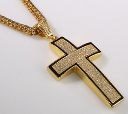Wholesale Mixed Bling Charms - 90CM Hip Hop Punk Men Necklace Bling Cross Gansta Maple Design Mix Silver and Golden Color hiphop men jewelry