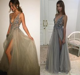 Wholesale Silver Blue Silk Evening Dress - 2017 New Sexy Paolo Sebastian Evening Dresses Deep V Neck Sequins Tulle High Split Long Gray Evening Gowns Sheer Backless Prom Party Gowns