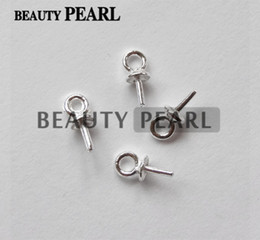Wholesale Sterling Silver Connectors - 100 Pieces Wholesale Beads End Connectors for Charms DIY Pearl Findings 925 Sterling Silver Bead Caps