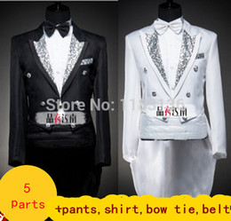Wholesale White Tuxedo Belt - Wholesale- Male formal tuxedo costume dress set married suit male black white include pants shirt tie belt for groom singer dancer party