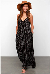 Wholesale Wholesale Polyester Maxi Dresses - Summer Dress Sexy Women Strapless Polka Dot Casual Loose Long V Neck Floral Maxi Party Dresses Sleeveless Beach Cotton Plus Size Dress