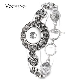 Wholesale Vintage Heart Buttons - VOCHENG NOOSA Hearts Bracelet Ginger Snap Charms Button Metal Interchangeable Jewelry 18mm Vintage Style with Crystal NN-567
