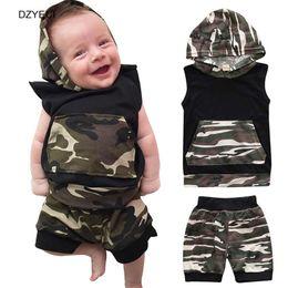 Wholesale Sport T Shirt Camo - Summer Baby Boy Camouflage Set Clothes Fashion Kid Camo T Shirts Top+Sports Pants 2pcs Suit Newborn Infant Jerseys Outfit Costume