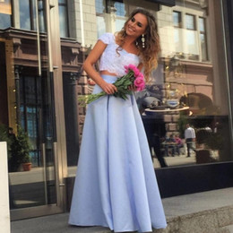 Wholesale Simple Navy Homecoming Dresses - Simple Two Pieces Prom Dresses Cap Sleeves Lace Appliques Satin Skirt Cheap Homecoming Dress Zipper Back Sweetheart Cheap Bridesmaid Dress