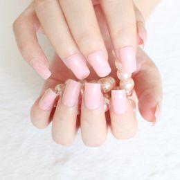 Wholesale Long Artificial Nails - Wholesale- 24pcs Pack Baby Pink Long False Nails Art Tips Acrylic Artificial Full Stiletto Fake Nail Art Decoration Free Shipping R27-096M