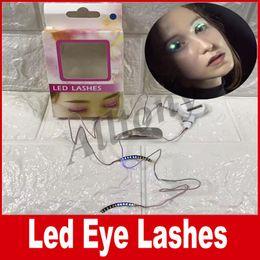 Wholesale Christmas C Led Lights - Led Growing false eyelashes Light Strips Lashes Interactive Led Eye lashes colorful Cool Christmas Halloween Night DHL