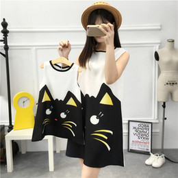 Wholesale Dress Cat For Girls - Family Look Mother Daughter Dresses Girls Cute Cartoon Cat Print Dress 2017 Summer Fashion Clothes for Mom and daughter matching outfits