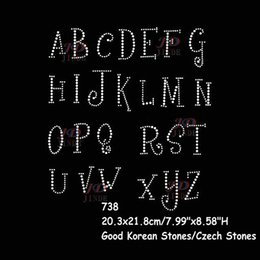 Wholesale Diy Bling Stickers - 20pcs lot 26 Alphabet Bling Bling Rhinestone Iron On Letters Transfers Sticker DIY For T-Shirt