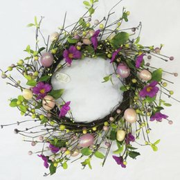 """Wholesale Floral Stems - Alldeco 18"""" Floral Stem Easter Egg Spring Wreath  Best Seller"""