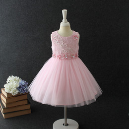 Wholesale Children Formal Costume Party - Girls Pageant Dress Flower Lace Sequin Kids Formal Dress Lace Sleeve Children Stage performance costume Kids Princess Party Dress C2179