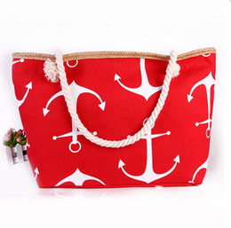 Wholesale Boat Handbag - 10pcs lot Classical Women Ladies Fashion Boat Anchor Canvas Shoulder Bag Stripes New Messenger Bag Summer Beach Handbag Bags Totes F930