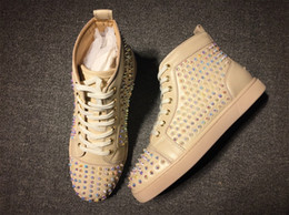 Wholesale Pearl Massage - Top Design Party Casual Shoes Red Bottom Sneakers Pearl rivets Beige Genuine Leather Spikes Hightop Flat Men Shoes