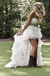 Wholesale Romantic Wedding Dresses Vintage Style - Country Style High Low Wedding Dresses 2017 Sweetheart Bead Ruffles Organza Romantic Hi Lo Bridal Gowns Ivory Vestido De Novia Cheap