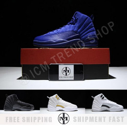 Wholesale Deep Online - 2017 air retro 12 Premium Deep Royal Blue Suede men Basketball Shoes sports Sneakers us size 5.5-13 online for sale AAA+ quality