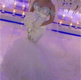 Wholesale tulle bridal rhinestone - Off-the-shoulder Mermiad Wedding Dresses 2017 Hot Selling New Court Train Luxury Crystal Rhinestone Tulle Bridal Gowns Vestido De Noiva W570
