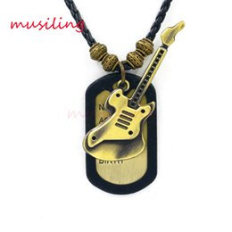 Wholesale Brass Jewelry Tags - Leather Necklace Copper Alloy Tags Hat Skull Foot print Guitar Pendants Jewelry High Quality Accessories Metal Hip Hop Jewelry