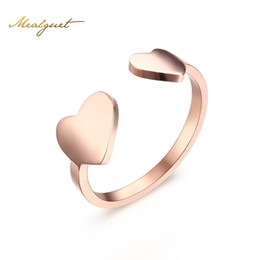 Wholesale Adjustable Heart Ring - Meaeguet Romantic Adjustable Double Heart Rings Rose Gold Color Opening Toe Ring for Woman Anillos Gift Jewelry R-202