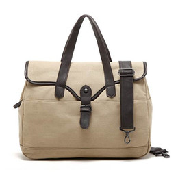 Wholesale Handbags Wholesale Manufacturers - New Men Casual Laptop Travel Handbag Fashionable Shoulder Crossbody Khaki Linen Canvas Top Handle Bag For Sale Manufacturer Supply Wholesale
