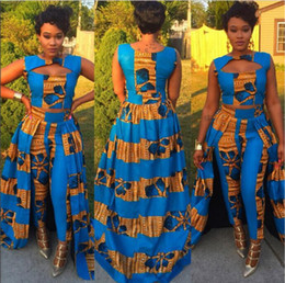 Wholesale blue maxi dress long sleeve - Formal Two Piece Dress Set Traditional African Dashiki Long Sleeveless Vest tops Skinny Pants Cocktail Party Evening Maxi Dresses Clubwear