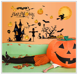 Wholesale 3d Wall Painting Art - Creative 3D DIY Halloween Decoration Painting wall sticker Carved living room Removable Glass window Sticker fashion Decor 2017 Wholesale