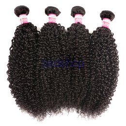 Wholesale Russian Remy - Malaysian Kinky Curly Hair Weave 3  4 Bundles 100% Human Hair Weaving Natural Color Malaysian Curly Remy Hair Bundles Free Shipping
