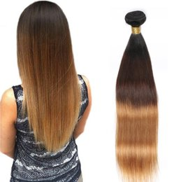 Wholesale Peruvian Hair 27 Pc - Peruvian Straight Human Hair Remy Hair Weaves Ombre 3 Tones 1B 4 27 Color Double Wefts 100g pc Can Be Dyed Bleached