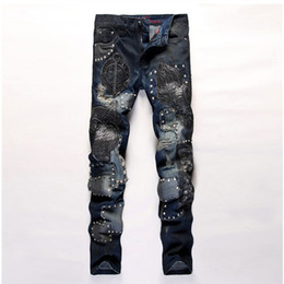 Wholesale Flying Owls - Wholesale- 2016 Owls embroidery patchwork slim ripped jeans with star rivet for men skinny fashion true denim pants rock&hip hop&nightclub