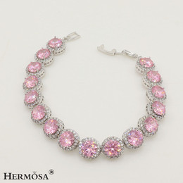 Wholesale red topaz - Links Bracelet Handmade Sterling Silver Gemstone Round Shape Pink Kunzite Topaz Garnet Emerald Sapphire Hermosa Jewelry 7 Inch