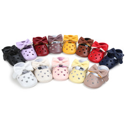 Wholesale Newborn Bottoms - Kids Shoes Newborn Kids Girls Hallow Out Heart First walker shoes 2017 Toddler Soft Bottom Prewalkers Infant Baby Princess Bow Shoes