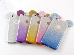 Wholesale Glitter For Phones - Popular 3D Mickey Mouse Ears TPU Soft Glitter Cover Case Gradual Change Color With Hang rope phone cases for iPhone 5S 6 6S 6Plus 7 7plus 8x