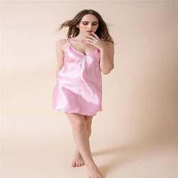 Wholesale Green Purple Sling - Wholesale- 2016 Hot New Summer Thin Models Women Suspenders Sexy Pajamas Sling Pure Faux Silk Nightgown