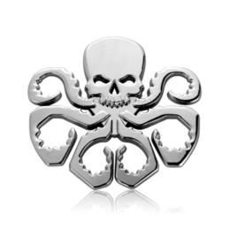 Wholesale Diy Metal Badges - 3D Metal Skull HEIL HYDRA Car Emblem Badge DIY Car Stickers Decal Motorcycle Auto Car Styling Accessories Automobiles