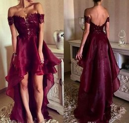 Wholesale High Low Dress Side Zipper - New Burgundy Off Shoulder Lace Prom Dresses 2017 High Low Open Back Appliques Formal Evening Dresses Party Gowns