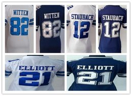 Wholesale Cheap Girls Shirts Shorts - Girls cheap top quanlity football shirt 12 Staubach 21 Ezekiel Elliott 82 Jason Witten limited new style blue white nice shirt
