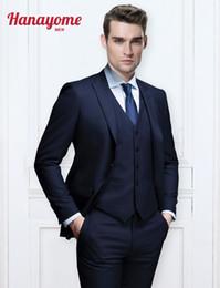 Wholesale 3pcs Tuxedo - Wholesale- Dark Blue Suits 3pcs Sets Wedding Tuxedos Men's 3 Pieces New Fashion Wedding Event Blazer Suit Vest & Trousers Vest Pants U111