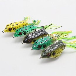 Wholesale Freshwater Fish Bass - 5PC Large Frog Topwater Soft Fishing Lure Crankbait Hooks Bass Bait Tackle New Bright colors to attract big fish